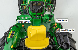 Operator-friendly transmission controls with hand throttle